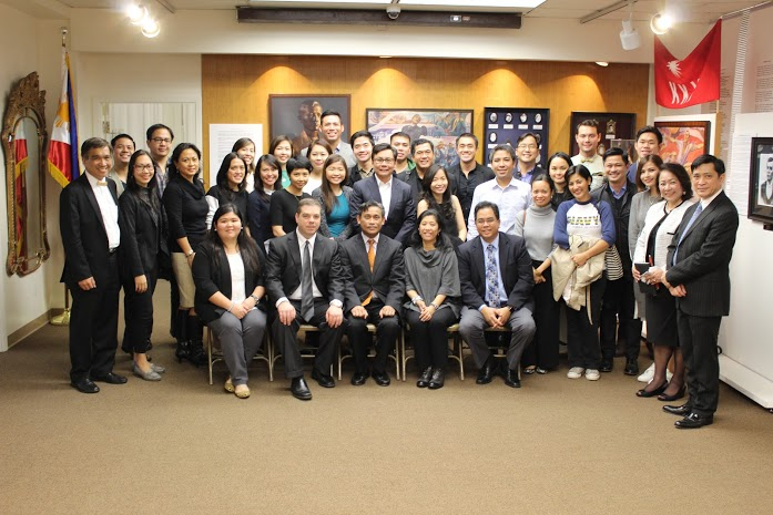 Philippine Consul General Henry S. Bensurto welcomes the Philippine delegation