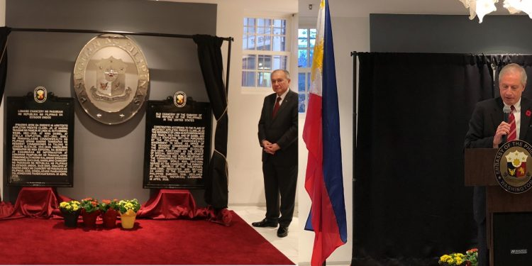 Unveiling of Markers at Old Philippine Chancery, l-r: Chair Dr. Rene Escalante, Ambassador Jose Manuel G. Romualdez, Executive Director Hank Hendrickson, November 9, Washington DC.